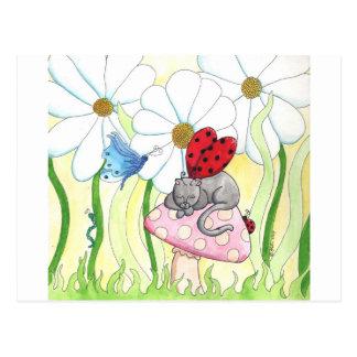 てんとう虫の妖精猫 ポストカード