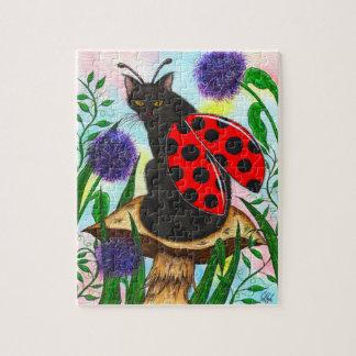 てんとう虫妖精猫のファンタジーの芸術のパズル ジグソーパズル
