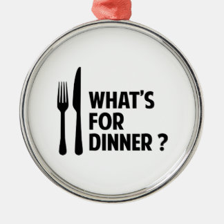 である何が夕食のため シルバーカラー丸型オーナメント
