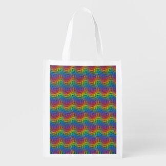でこぼこの虹の再使用可能な買い物袋 エコバッグ