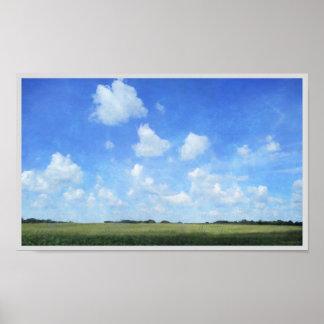 とうもろこし畑および青空 ポスター