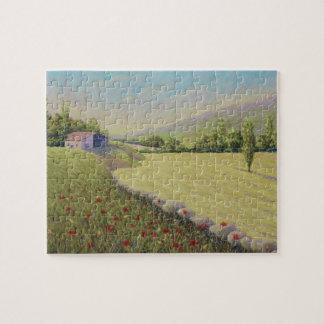 とうもろこし畑及びケシのドルドーニュ県フランスのジグソーパズル ジグソーパズル
