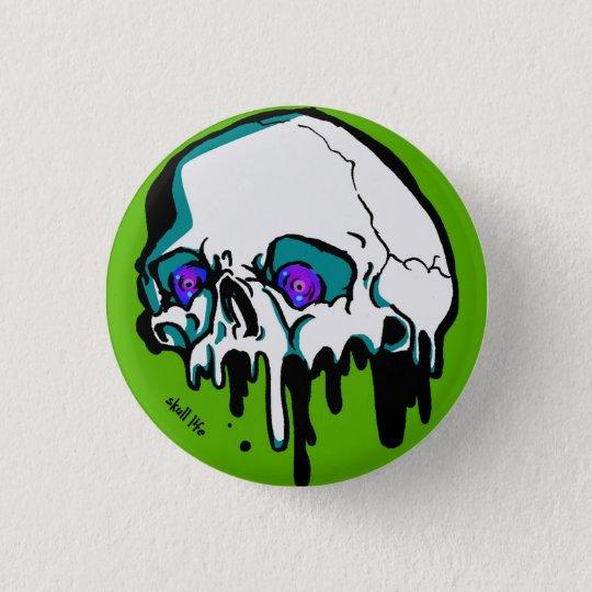 とけてる髑髏(緑) Your Custom 丸い缶バッジ 3.2cm 丸型バッジ