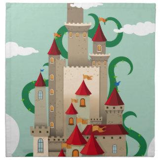 とげがある植物が付いている城タワー ナプキンクロス