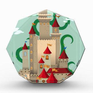 とげがある植物が付いている城タワー 表彰盾