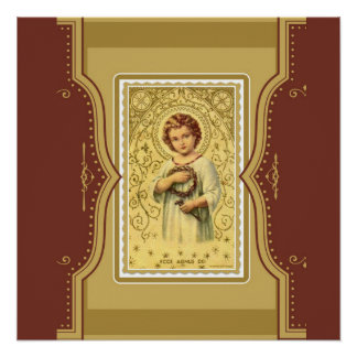 とげ及びネイルを持つヴィンテージのキリストの子供イエス・キリスト ポスター