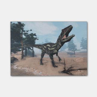 とどろいているアロサウルスの恐竜- 3Dは描写します ポストイット