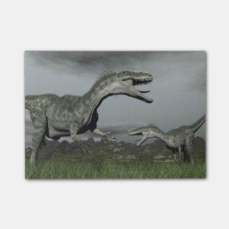 とどろいているMonolophosaurus - 3Dは描写します ポストイット