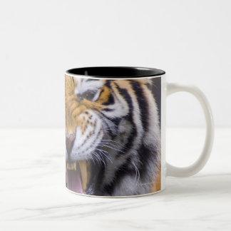 とどろくトラ、台湾、台北、台北の動物園 ツートーンマグカップ
