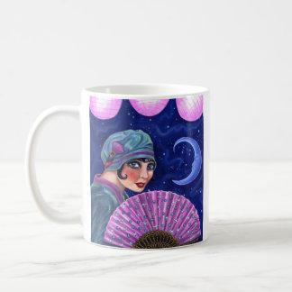 とどろく二十代のフラッパーの女の子ファンの月の星 コーヒーマグカップ