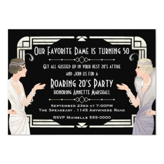 とどろく20年代のもぐり酒場の誕生日 12.7 X 17.8 インビテーションカード