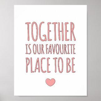 ともにピンクの-家族のお洒落な芸術のプリント ポスター