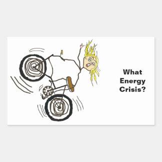 どんなエネルギー危機か。 バイクに乗って下さい! 長方形シール