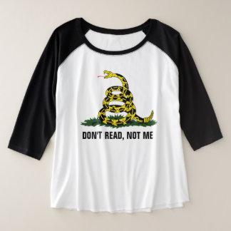 、ない私読まないで下さい プラスサイズラグランTシャツ