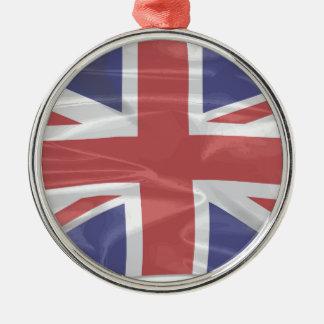 なびく絹の英国国旗 メタルオーナメント