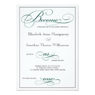 なる深緑ように1匹の原稿の結婚式招待状 12.7 X 17.8 インビテーションカード