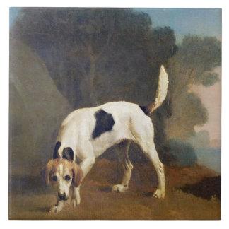 においのFoxhound、c.1760 (紙によって置かれるoの油 タイル