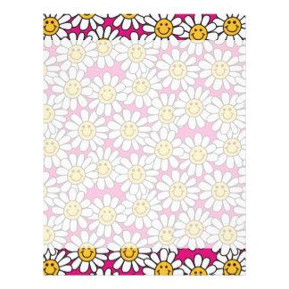 にこやかなデイジーの花模様のピンクの黄色 レターヘッド