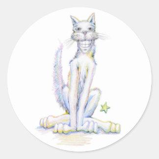 にこやかな猫 ラウンドシール