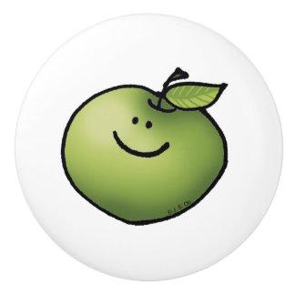 にこやかな緑のりんご セラミックノブ