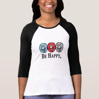 にこやかな顔の(幸せがあって下さい) *3/4袖 Tシャツ