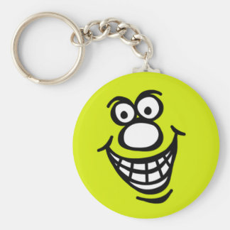にこやかな顔の*Keychainの緑の黄色 キーホルダー