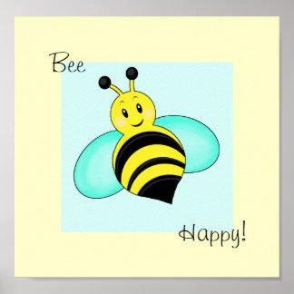 """にこやかな《昆虫》マルハナバチ""""蜂幸せな""""のプリント ポスター"""
