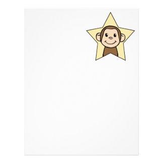 にやにや笑いのスマイルの星を持つかわいい漫画の切り貼り芸術猿 レターヘッド