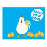 【にわとりとひよこ(水彩)】 A chicken and chicks (Watercolor) ポストカード