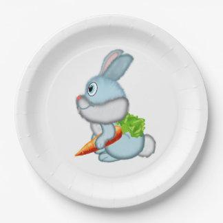 にんじんが付いているウサギ ペーパープレート