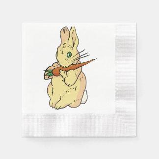 にんじんが付いているバニーウサギ 縁ありカクテルナプキン