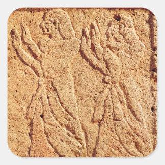 に尊敬を支払っている使用人を描写するレリーフ、浮き彫り スクエアシール