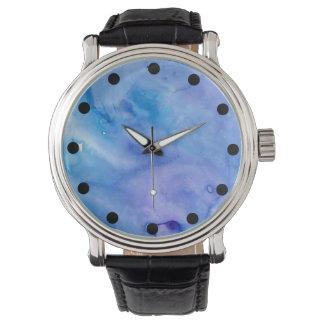 ぬれた水彩画の腕時計ぬれの抽象芸術 腕時計