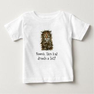 ぬれた猫の子供のよだれのTシャツの乳児 ベビーTシャツ