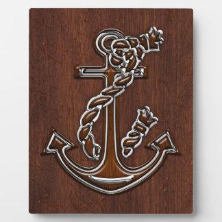 ぬれた航海のなマホガニーのいかりの鋼鉄装飾 フォトプラーク