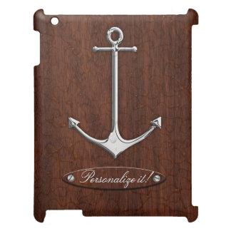 ぬれた航海のなマホガニーのいかりの鋼鉄 iPadケース