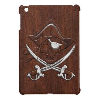 ぬれた航海のなマホガニーの海賊スカルの鋼鉄 iPad MINI CASE