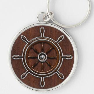 ぬれた航海のなマホガニーの航海のな車輪 キーホルダー