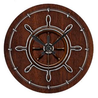 ぬれた航海のなマホガニーの航海のな車輪 ラージ壁時計