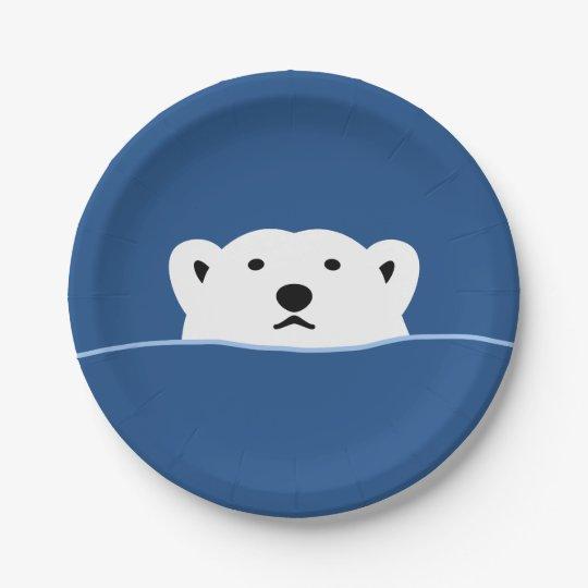【のぞくホッキョクグマ(濃色地用)】 Looking polar bear (for dark) ペーパープレート