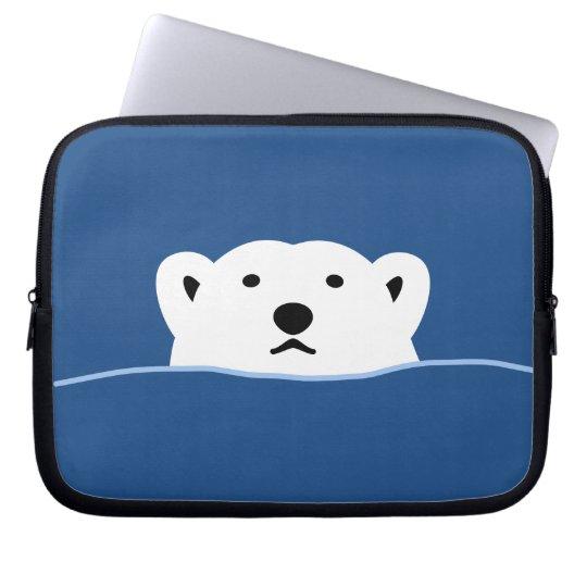 【のぞくホッキョクグマ(濃色地用)】 Looking polar bear (for dark) ラップトップスリーブ