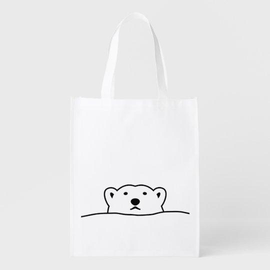 【のぞくホッキョクグマ】 Looking polar bear エコバッグ