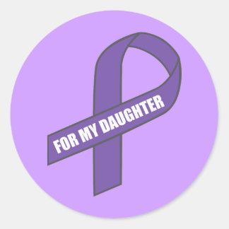 のため私の娘(紫色のリボン) ラウンドシール