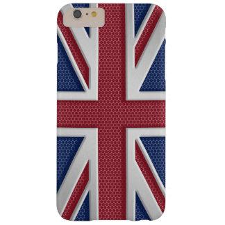 のどによってブラシをかけられる金属のスタイルの英国国旗 BARELY THERE iPhone 6 PLUS ケース