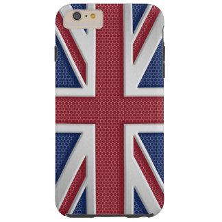 のどによってブラシをかけられる金属のスタイルの英国国旗 TOUGH iPhone 6 PLUS ケース