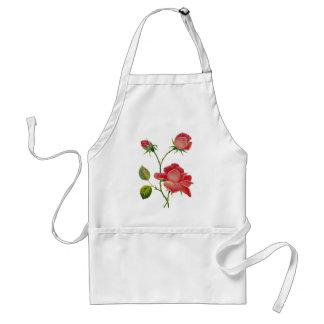 のどによって刺繍される濃いピンクのバラ スタンダードエプロン
