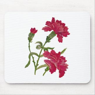 のどによって刺繍される赤いカーネーション マウスパッド