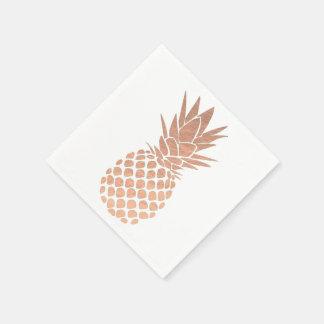 のどのばら色の金ぱくの一見のパイナップル スタンダードカクテルナプキン