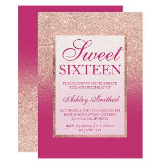 のどのばら色の金ゴールドのグリッターのグラデーションなピンクのマゼンタの菓子16 カード