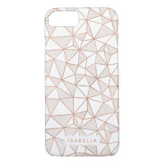 のどのばら色の金ゴールドの幾何学的な三角形パターン iPhone 8/7ケース